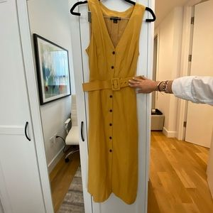 Fall dress. Mustard yellow with faux leather belt.